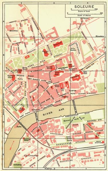 Associate Product SWITZERLAND. Soleure 1923 old vintage map plan chart