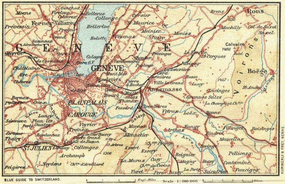 SWITZERLAND. Environs of Geneva 1923 old vintage map plan chart