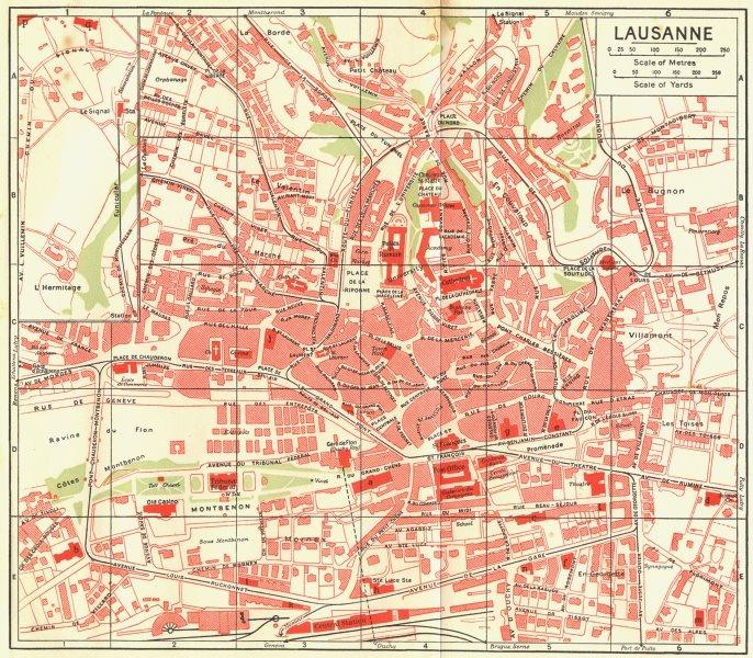 Associate Product SWITZERLAND. Lausanne 1923 old vintage map plan chart