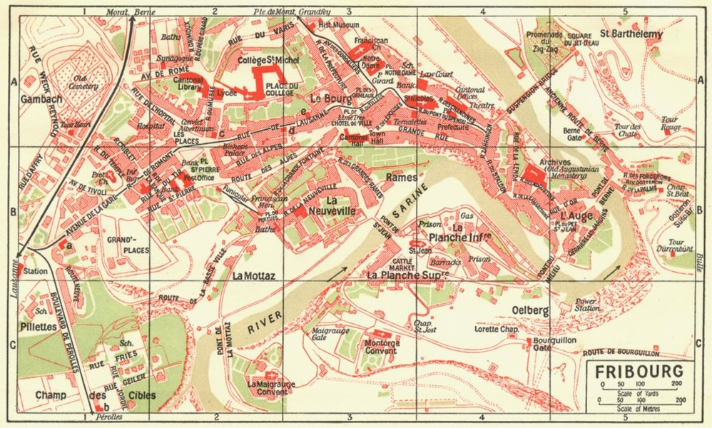 Associate Product SWITZERLAND. Fribourg 1923 old vintage map plan chart