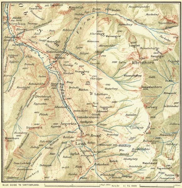 Associate Product SWITZERLAND. Environs of Lenk 1923 old vintage map plan chart