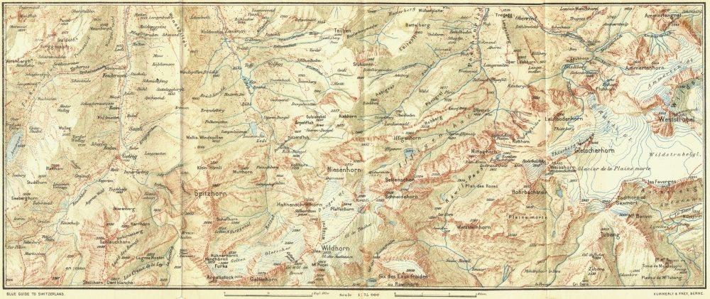 Associate Product SWITZERLAND. Gsteig-Wildhorn-Wildstrubel 1923 old vintage map plan chart