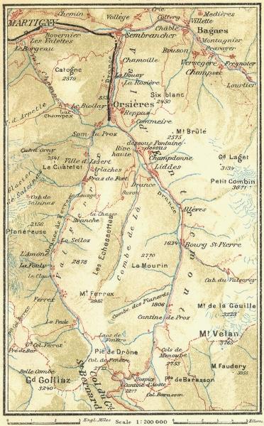 Associate Product SWITZERLAND. Great St Bernard Martigny 1923 old vintage map plan chart