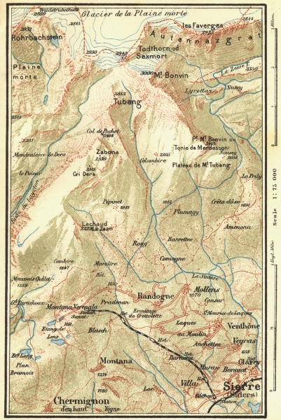 Associate Product SWITZERLAND. Environs of Montana 1923 old vintage map plan chart