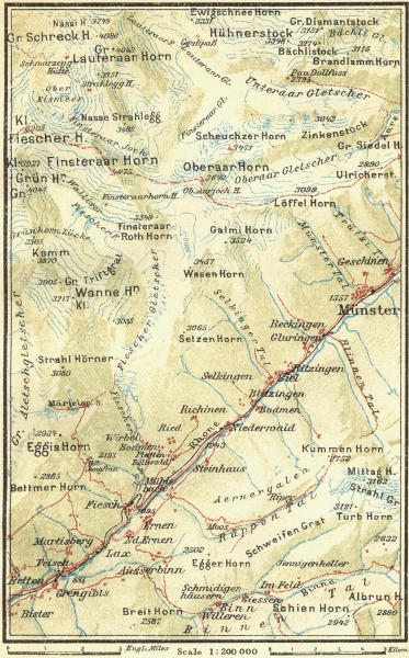 Associate Product SWITZERLAND. Eggishorn-Munster 1923 old vintage map plan chart