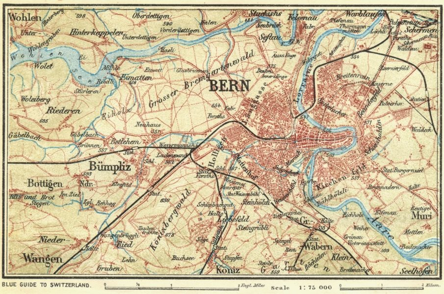 Associate Product SWITZERLAND. Environs of Berne 1923 old vintage map plan chart
