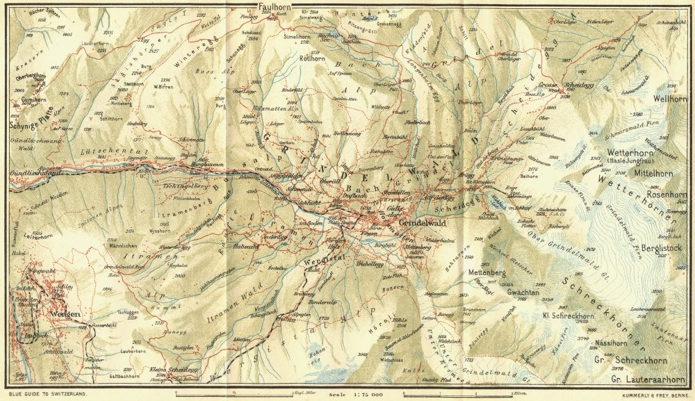 Associate Product SWITZERLAND. Environs of Grindelwald 1923 old vintage map plan chart