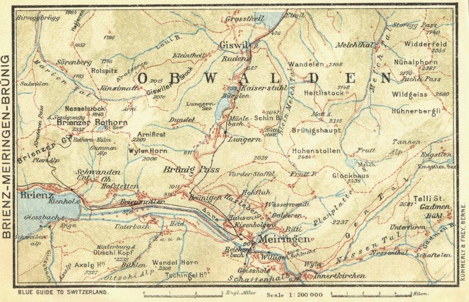 SWITZERLAND. Brienz-Meiringen-Brunig 1923 old vintage map plan chart