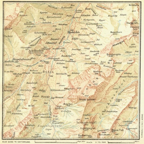 Associate Product SWITZERLAND. Environs of Adelboden 1923 old vintage map plan chart
