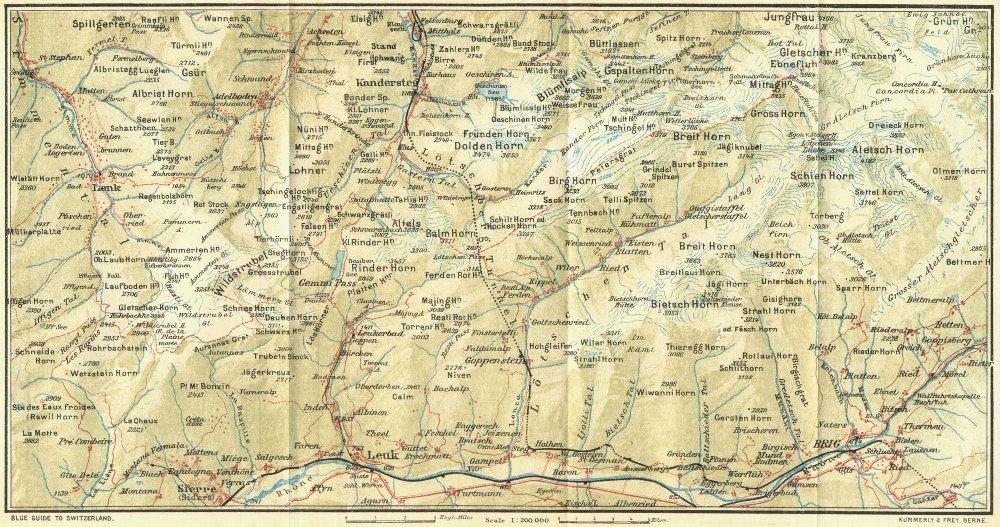 Associate Product SWITZERLAND. Lenk-Adelboden-Sierre-Brig 1923 old vintage map plan chart