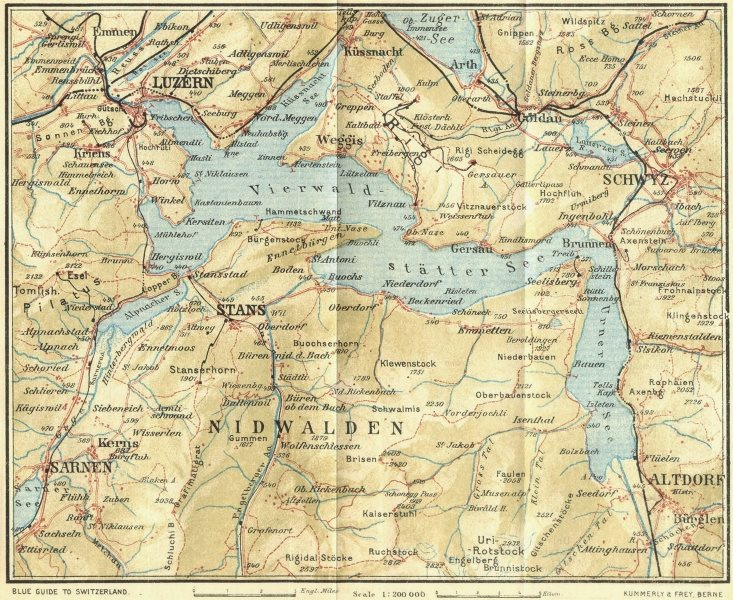 Associate Product SWITZERLAND. Lake of Lucerne 1923 old vintage map plan chart