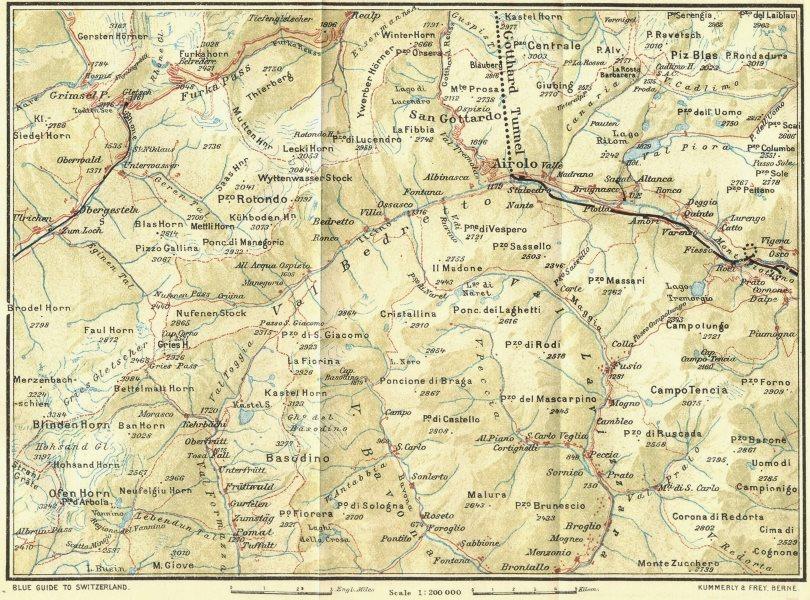 Associate Product SWITZERLAND. Grimsel-St Gotthard 1923 old vintage map plan chart
