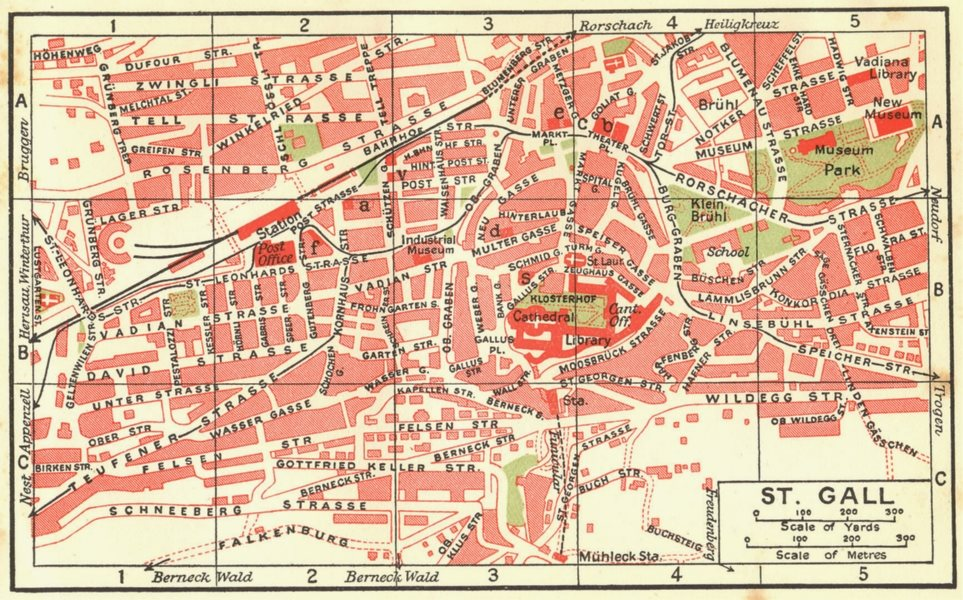 Associate Product SWITZERLAND. St Gall 1923 old vintage map plan chart