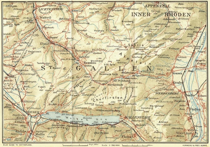 Associate Product SWITZERLAND. The Toggenburg 1923 old vintage map plan chart
