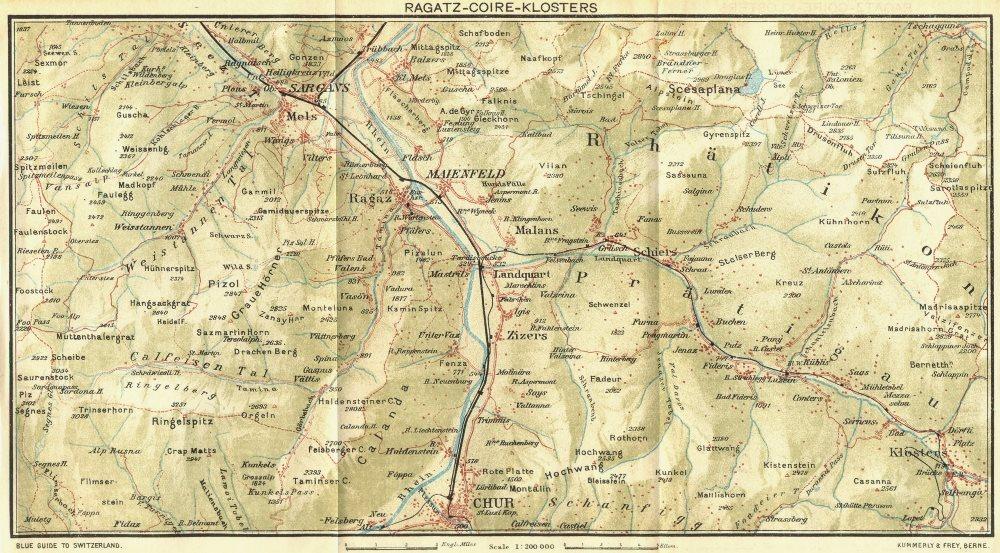 Associate Product SWITZERLAND. Ragatz-Coire-Klosters 1923 old vintage map plan chart