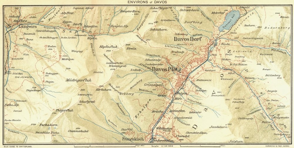 Associate Product SWITZERLAND. Environs of Davos 1923 old vintage map plan chart