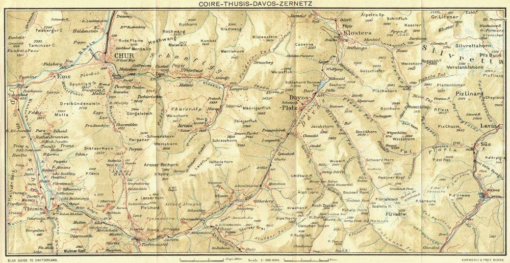 Associate Product SWITZERLAND. Coire-Thusis-Davos-Zernetz 1923 old vintage map plan chart