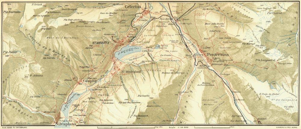 Associate Product SWITZERLAND. Area of St Moritz & Pontresina 1923 old vintage map plan chart