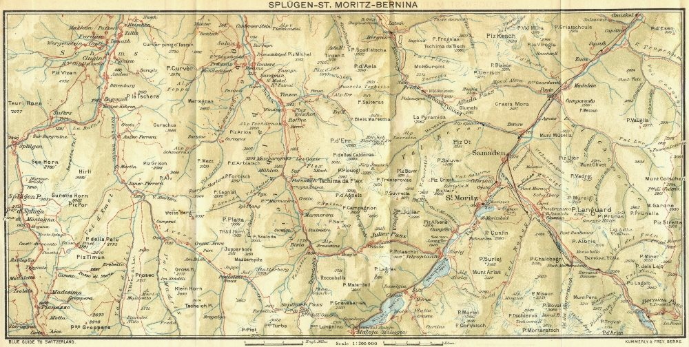 Associate Product SWITZERLAND. Splugen-St Moritz-Bernina 1923 old vintage map plan chart