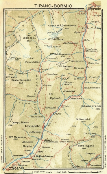 Associate Product ITALY. Tirano-Bormio 1923 old vintage map plan chart