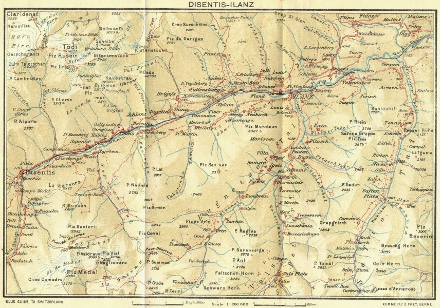 Associate Product SWITZERLAND. Disentis-Ilanz 1923 old vintage map plan chart