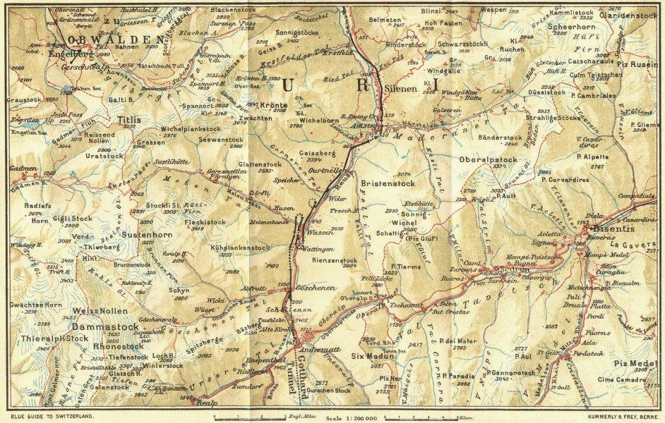 Associate Product SWITZERLAND. Engelberg-Andermatt-Disentis 1923 old vintage map plan chart