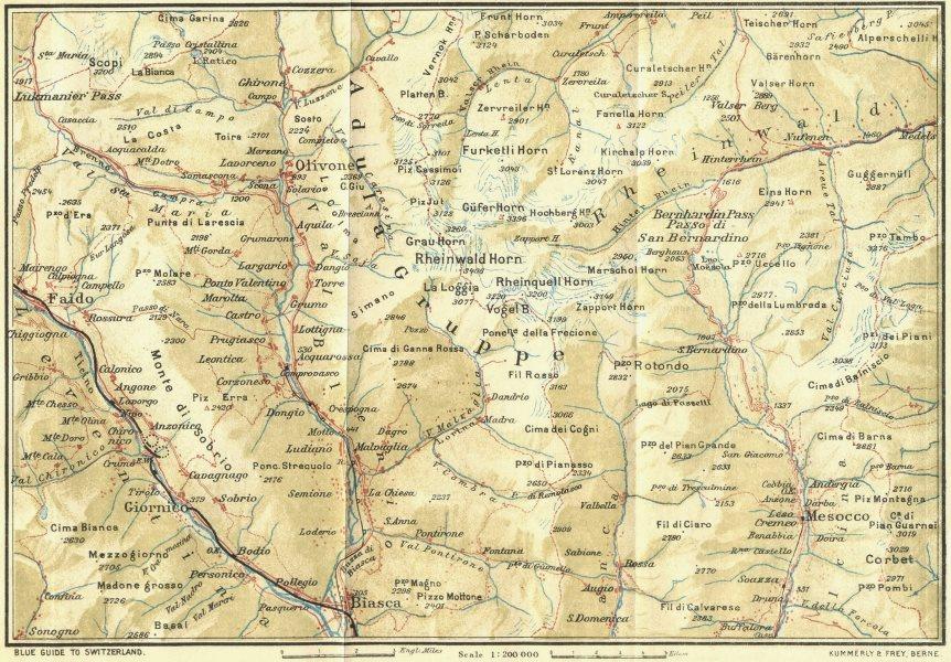 Associate Product SWITZERLAND. Lukmanier & San Bernardino Passes 1923 old vintage map plan chart