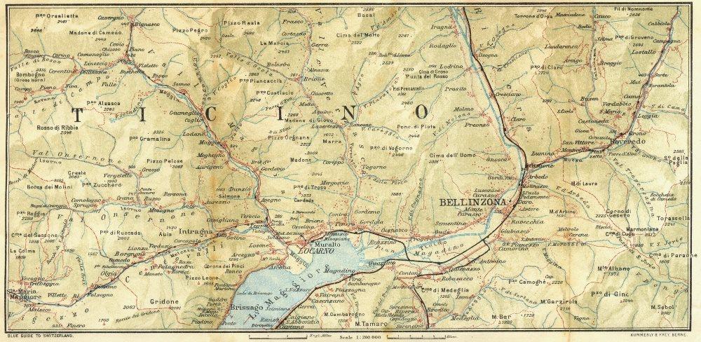 Associate Product TICINO. Val Maggia-Locarno-Bellinzona 1923 old vintage map plan chart