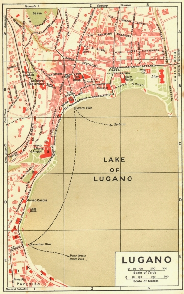 Associate Product SWITZERLAND. Lugano 1923 old vintage map plan chart