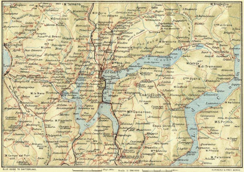 Associate Product SWITZERLAND. Lake of Lugano 1923 old vintage map plan chart