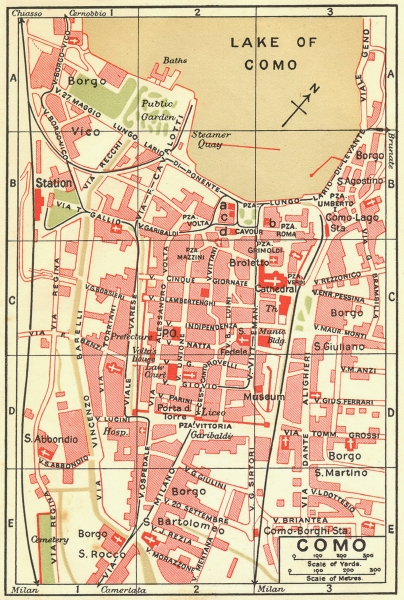 Associate Product ITALY. Como 1923 old vintage map plan chart