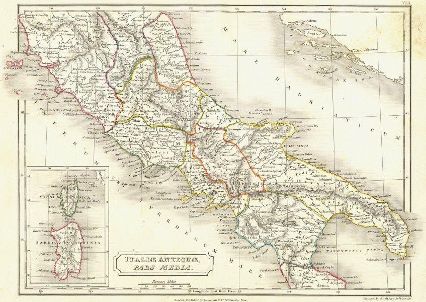 Associate Product ITALY. Italiae Antiquae Pars Media 1847 old antique vintage map plan chart