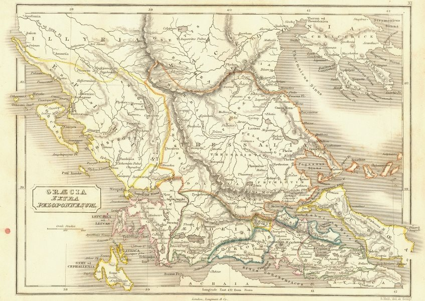 Associate Product GREECE. Graecia Extra Peloponnesum 1847 old antique vintage map plan chart
