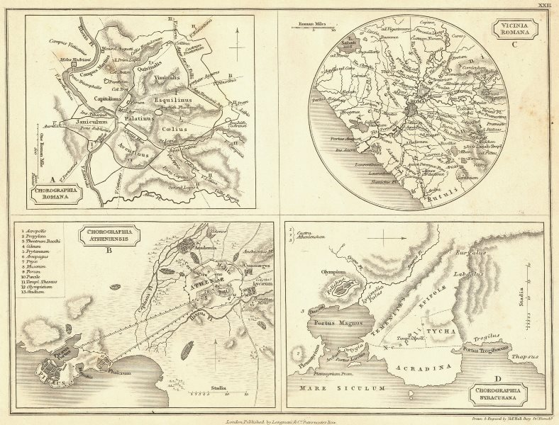 Associate Product ROME. Athens Syracuse 1847 old antique vintage map plan chart