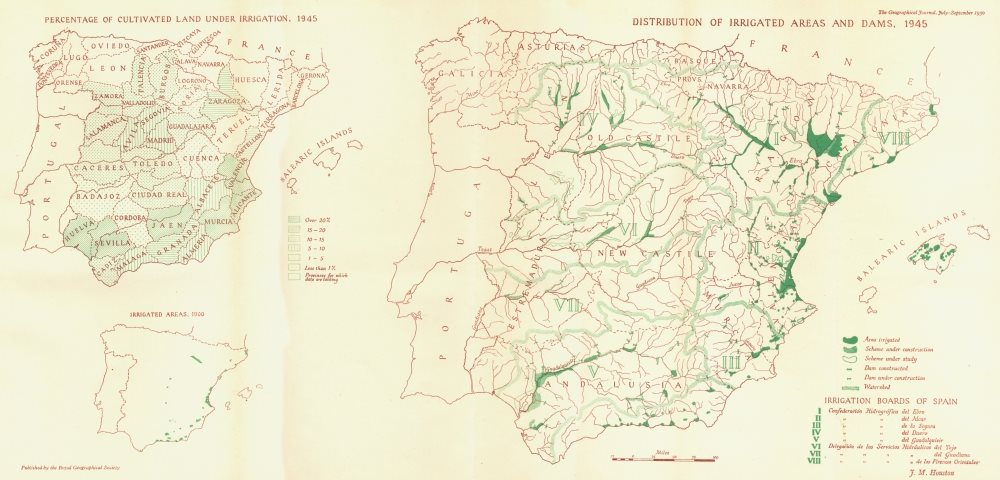 Associate Product SPAIN. Irrigated cultivated farm land dams 1945 1950 old vintage map chart