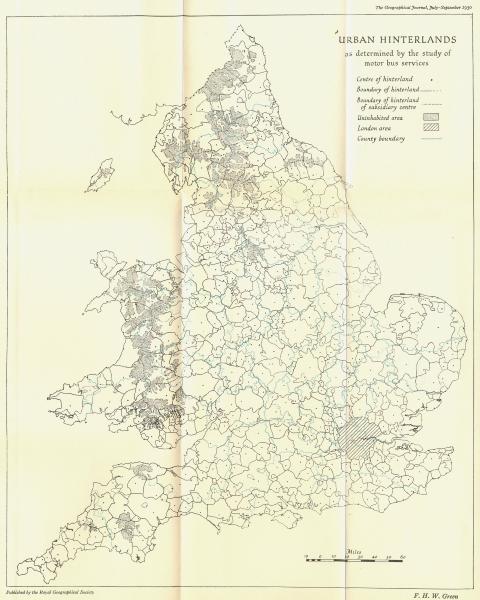 Associate Product UK. Urban Hinterlands motor bus services 1950 old vintage map plan chart