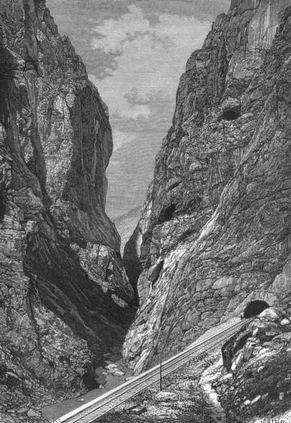 Associate Product GUADALHORCE. Gorge de los Gaitanes, Defile of c1885 old antique print picture