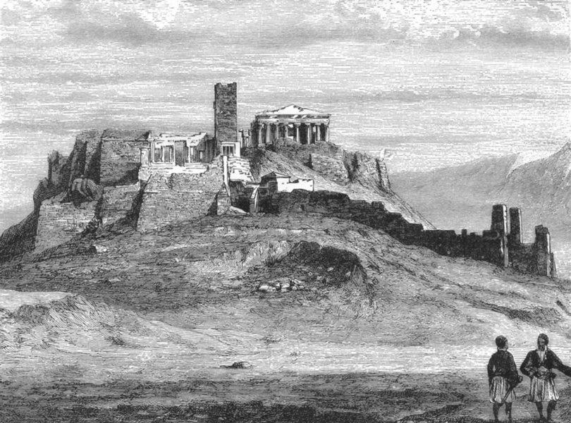 Associate Product GREECE. Acropolis of Athens c1885 old antique vintage print picture