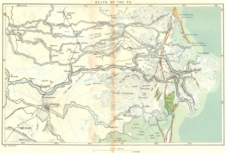 Associate Product ITALY. Delta of Po c1885 old antique vintage map plan chart
