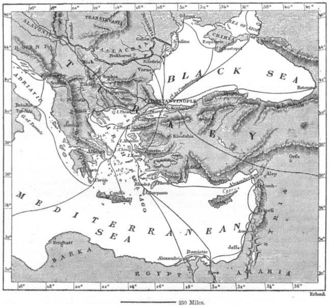 Associate Product ISTANBUL. Sea routes converging on, sketch map c1885 old antique chart