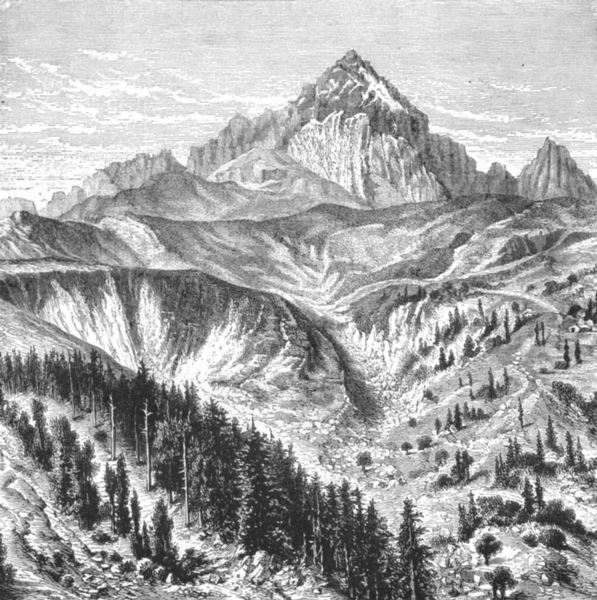 Associate Product ITALY. Monte Viso it appears from Chiaffredo c1885 old antique print picture