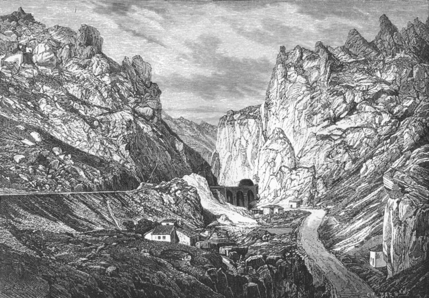 Associate Product SPAIN. Gorges of Pancorbo c1885 old antique vintage print picture
