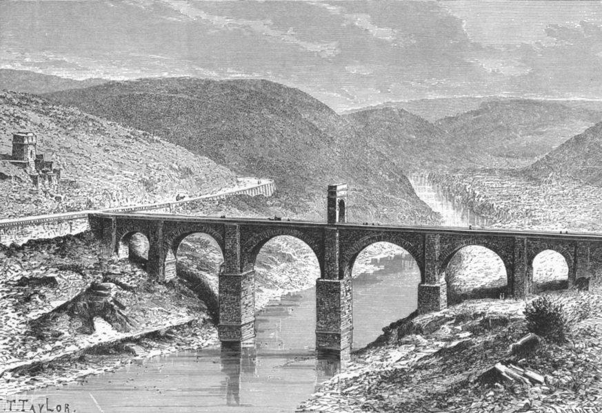 Associate Product SPAIN. Roman bridge at Alcantara c1885 old antique vintage print picture
