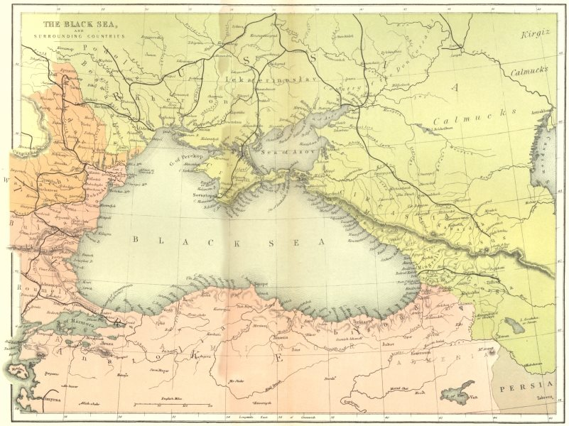 Associate Product EUROPE. Black Sea & surrounding countries c1885 old antique map plan chart