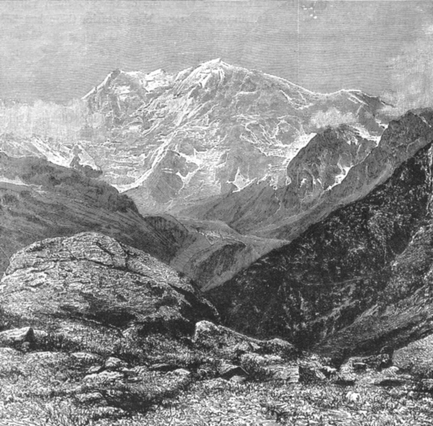Associate Product SWITZERLAND. Monte Rosa, from Galcoro c1885 old antique vintage print picture