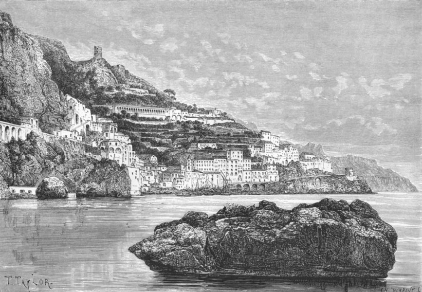 Associate Product ITALY. Amalfi c1885 old antique vintage print picture