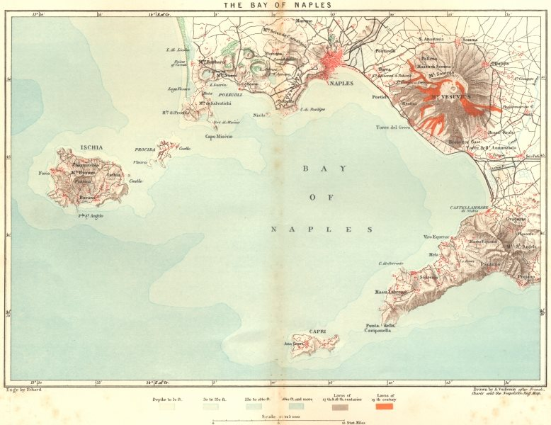 Associate Product ITALY. Bay of Naples c1885 old antique vintage map plan chart