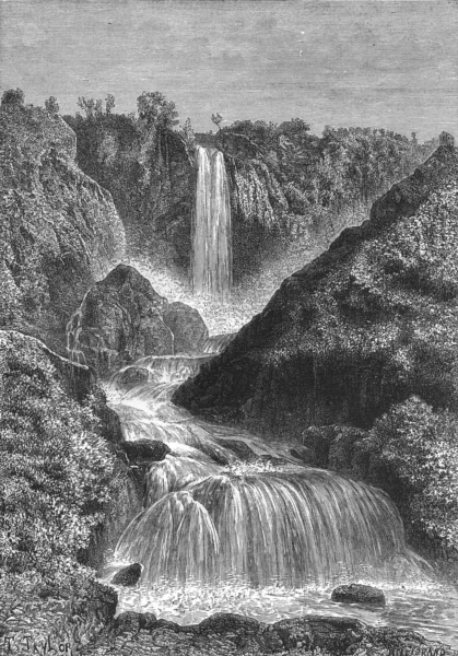 Associate Product ITALY. Cascades of Terni c1885 old antique vintage print picture