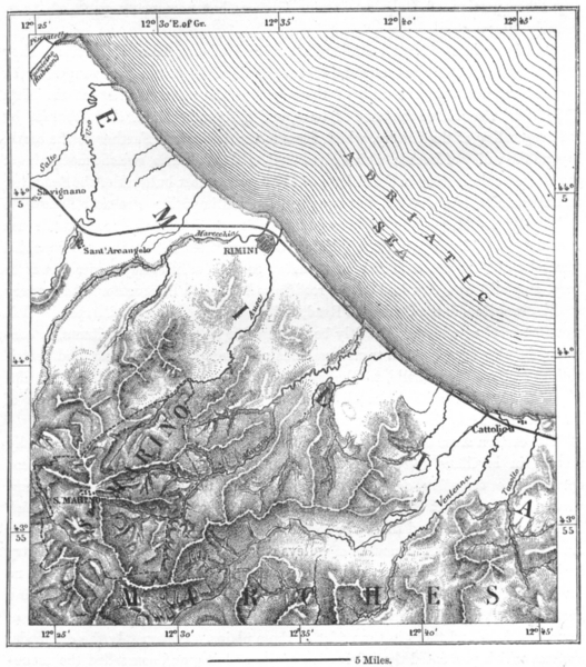 Associate Product ITALY. Rimini & San Marino, sketch map c1885 old antique plan chart