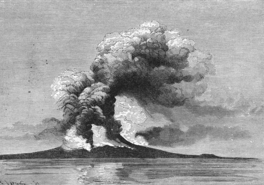 Associate Product ITALY. Eruption of Mount Vesuvius, 26th, 1872 c1885 old antique print picture
